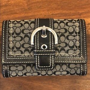 COACH black C Monogram Canvas Small wallet